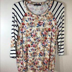Floral & Stripes Raglin Sleeve Top Size 2X